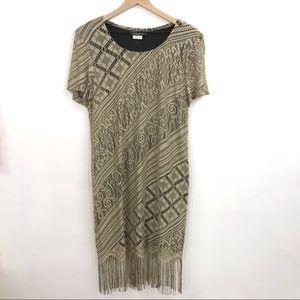VTG Gold Crocheted Fringe Dress in EUC